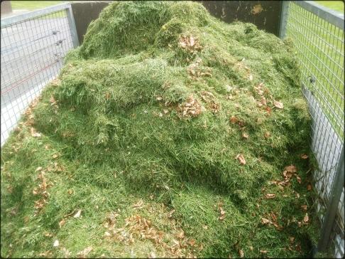 Une remorque remplie de pelouse